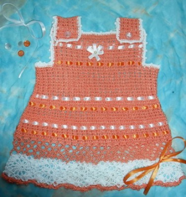 Описание: сарафан крючком для девочки - Вязание.